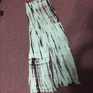 Blue & Black Tie Dye Wide Leg Pants S